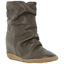 Buy Dune Black Pipper Leather Wedge Ankle Boots, Khaki Online at johnlewis.com