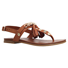 Buy Carvela Krimp Flat Tassel Detail Sandals, Tan Leather Online at johnlewis.com