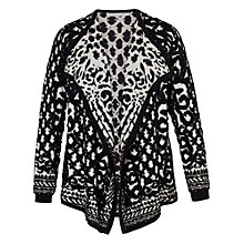 Buy Chesca Jacquard Knitted Cardigan, Black/Ivory Online at johnlewis.com