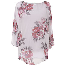 Buy Phase Eight Rosa Print Silk Blouse, Mauve/Silver Online at johnlewis.com