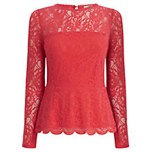 Buy Oasis Lace Long Sleeved Peplum Top, Coral Online at johnlewis.com