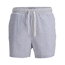 Buy Selected Homme Seersucker Swim Shorts, Blue/White Online at johnlewis.com