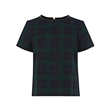 Buy Oasis Check Top, Navy Online at johnlewis.com