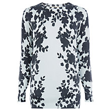 Buy Oasis Shadow Floral Jumper, Mid Blue Online at johnlewis.com