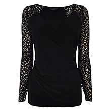 Buy Coast Lynx Wrap Top, Black Online at johnlewis.com