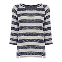 Buy Oasis Marl Stripe Sweat Top, Multi Blue Online at johnlewis.com