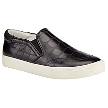 Buy Ash Impuls Gloss Croc Leather Trainers, Black Online at johnlewis.com