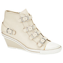 Buy Ash Genial Mid-Wedge Leather Trainers, Natural Online at johnlewis.com