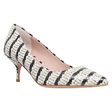 Buy Kurt Geiger Tiarella Striped Leather Court Shoes, Black/Beige Online at johnlewis.com