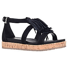 Buy KG by Kurt Geiger Meadow Fringed Sandals, Black Suede Online at johnlewis.com