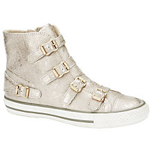 Buy Ash Virginia Crackle Buckle Leather Trainers, Gold Online at johnlewis.com
