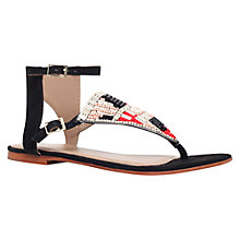 Buy Kurt Geiger Sahar Flat Sandals, Black Beaded Online at johnlewis.com