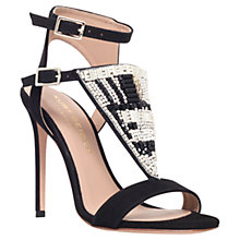 Buy Kurt Geiger Kiya Suede Beaded High Heel Sandals, Black Online at johnlewis.com