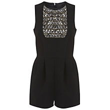 Buy Miss Selfridge Embellished Bib Playsuit, Black Online at johnlewis.com