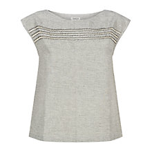 Buy People Tree Trixie Embroidered Top, Grey Online at johnlewis.com
