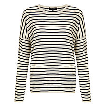 Buy Selected Femme Stripe Knit Jumper, Vanilla Ice/Dark Navy Online at johnlewis.com