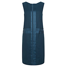 Buy Nicole Farhi Linen Pleat Shift Dress, Navy Online at johnlewis.com