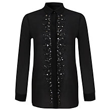 Buy Miss Selfridge Embellished Shirt, Black Online at johnlewis.com