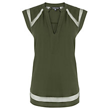 Buy Warehouse Mesh Insert Crepe Top, Khaki Online at johnlewis.com