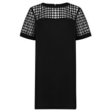 Buy Warehouse Fabric Mix Structured Dress, Black Online at johnlewis.com