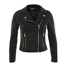 Buy Miss Selfridge Petite Faux Leather Jacket, Black Online at johnlewis.com