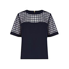 Buy Warehouse Fabric Mix Structured Top Online at johnlewis.com