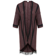 Buy Miss Selfridge Longline Fringe Kimono, Red Online at johnlewis.com