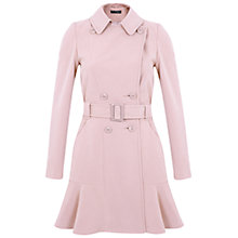 Buy Miss Selfridge Peplum Hem Coat, Pink Online at johnlewis.com