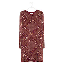 Buy Mango Floral Chiffon Dress, Dark Red Online at johnlewis.com
