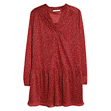 Buy Mango Ruffled Hem Tunic Top, Dark Red Online at johnlewis.com