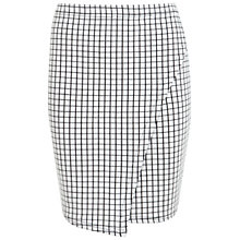 Buy Miss Selfridge Windowpane Wrap Skirt, White Online at johnlewis.com