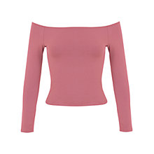 Buy Miss Selfridge Petite Bardot Top, Rose Pink Online at johnlewis.com
