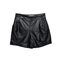 Buy Mango High Waist Leather Shorts, Black Online at johnlewis.com