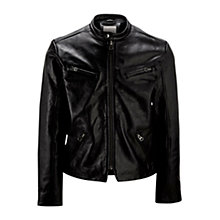 Buy Selected Homme Detailed Leather Jacket, Black Online at johnlewis.com