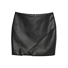 Buy Mango Faux Leather Origami Skirt, Black Online at johnlewis.com