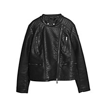Buy Violeta by Mango Biker Jacket, Black Online at johnlewis.com