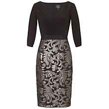 Buy Adrianna Papell Baroque Sequin Skirt Dress, Black Online at johnlewis.com