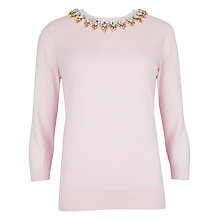 Buy Ted Baker Embellished Jumper, Light Pink Online at johnlewis.com
