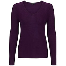 Buy Jaeger Alpaca V-Neck Jumper, Damson Online at johnlewis.com