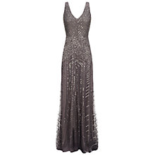 Buy Adrianna Papell Long Beaded Gown, Gunmetal Online at johnlewis.com