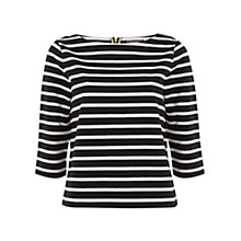Buy Mint Velvet Stripe Cotton Jumper, Black/White Online at johnlewis.com