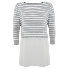 Buy Mint Velvet Crop Woven Hem Knitted Top Online at johnlewis.com