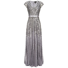 Buy Adrianna Papell Cap Sleeve Long Sequin Dress, Silver/Grey Online at johnlewis.com