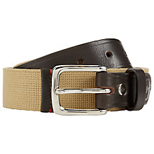 Buy JOHN LEWIS & Co. Webbing Canvas and Leather Belt, Brown Online at johnlewis.com