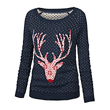 Buy Fat Face Orkny Fairisle Reindeer Jumper, Navy Online at johnlewis.com