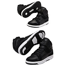 Buy Puma Children's Rebound High Top Trainers, Black Online at johnlewis.com