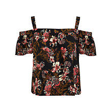 Buy Miss Selfridge Tropic Cold Shoulder Top, Multi Online at johnlewis.com