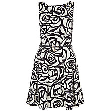 Buy Closet Floral V Back Cotton Dress, White/Black Online at johnlewis.com