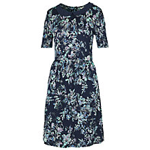 Buy Fat Face Lace Collar Floral Spray Dress, Navy Online at johnlewis.com
