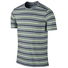 Buy Nike Tailwind Stripe Crew Neck T-Shirt, Grey/Blue/Green Online at johnlewis.com